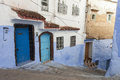 Street in medina of blue town chefchaouen morocco Stock Photo