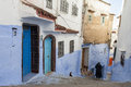 Street in medina of blue town chefchaouen morocco Royalty Free Stock Images