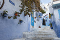 Street in medina of blue town chefchaouen morocco Stock Photos