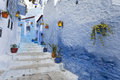 Street in medina of blue town Chefchaouen, Morocco Royalty Free Stock Photo