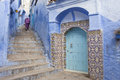 Street in medina of blue town chefchaouen morocco Royalty Free Stock Photography