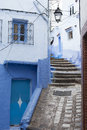 Street in medina of blue town chefchaouen morocco Stock Photography