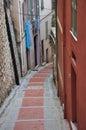 Street in Menton, narrow houses Royalty Free Stock Photo