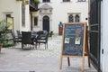 Street menu board of famous Roma Cafe, Krakow, Poland Royalty Free Stock Photo