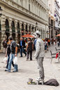 Street mime performer in bratislava slovakia the city is political economic and cultural center of seat of president Stock Image
