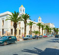 The street of modern sfax tunisia september white with building in arabic style on september in Stock Photo