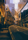 Street in modern urban city at evening Royalty Free Stock Photo