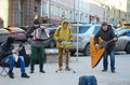 Street musical ensemble moscow russia february an unidentified plays instruments on a pedestrian kuznetsky bridge Royalty Free Stock Photos