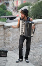Street musician mostar bosnia and herzegovina august plays accordion the streets of mostar are the stage of the arts festival Stock Image