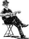 Street musician vector drawing of the Royalty Free Stock Photography