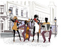 Street musicians in the city. Jazz band.