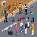 Street Musicians Isometric Illustration