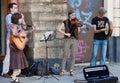 Street musicians lviv ukraine july performing medieval music on a sidewalkon july in lviv ukraine Stock Image