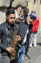 Street musicians make music münster germany north rhine westphalia city are making in the historic center downtown inner city the Stock Photo