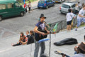Street musicians on montmartre paris france Stock Image