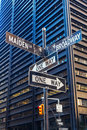 Street name signs in Manhattan, NYC Royalty Free Stock Photo