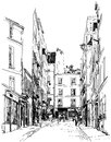 Street near Montmartre in Paris Royalty Free Stock Image