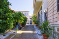 Street with neoclassical buildings in mets neighborhood athens greece Stock Image