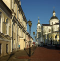On the street of the old city vitebsk belarus in spring day Stock Photography