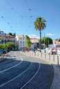 Street in an old european city lisbon narrow portugal Royalty Free Stock Images