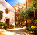 Street of old mediterranean town spain catalunya barcelona Stock Photo