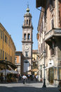 Street at the old part of parma on italy Royalty Free Stock Image