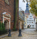 Street in old riga latvia is the capital and largest city of a major commercial cultural historical and financial center of the Royalty Free Stock Images