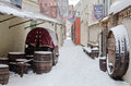 Street of Old Riga in snow day Stock Image