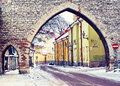Street of old tallinn in winter day estonia medieval with fortification Royalty Free Stock Images