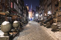 Street of the old town in gdansk winter night Stock Image