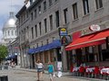Street in old town of montreal tourists enjoy the outdoor cafes the one the oldest cities north america Stock Photography