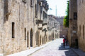 Street in the old town rhodes medieval Royalty Free Stock Photography