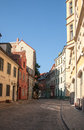 Street of the old town of riga latvia typical european city view Royalty Free Stock Photo