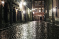 The street of the old town in warsaw a at night Royalty Free Stock Photography