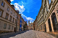 Street of the old town in Warsaw. Street Mostowa Royalty Free Stock Photo