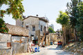 Street with an old townhouse destroyed during the war in north nicosia in north cyprus Stock Photography