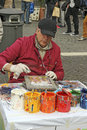 Street painter in piazza navona in rome italy Royalty Free Stock Image
