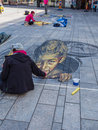 Street painting in d almere netherlands june art showing the power of optical illusion during the annual steet art festival held Stock Photo