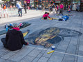 Street painting in d almere netherlands june art showing the power of optical illusion during the annual steet art festival held Stock Image