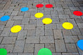 Street paving cheerful and colored designed for children Stock Photos