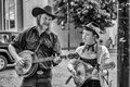 Street performers asheville north carolina october unidentified playing bluegrass style music with banjo and mandolin in downtown Stock Photos
