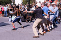 Street performers entertain crown in washington square park nyc crowd on labor day weekend Stock Image