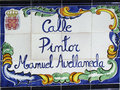 Street plaque in murcia spain traditional decorated ceramic Stock Photo