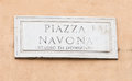 Street plate of famous piazza navona in rome italy Stock Photos