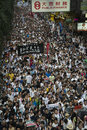 Street protests in hong kong st july wanchai photo taken on july st people marching for universal suffrage Stock Images
