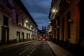 Street of Quito and Basilica del Voto Nacional at night - Quito, Ecuador Royalty Free Stock Photo