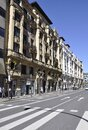 Bilbao, 13th april: Street with Residential Houses of Downtown from Bilbao city in Basque Country of Spain Royalty Free Stock Photo