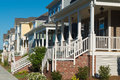 Street of residential houses with porches Royalty Free Stock Photo