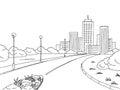 Street road graphic black white city landscape sketch illustration