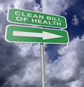 Street Road Sign Clean Bill Of Health Royalty Free Stock Photo